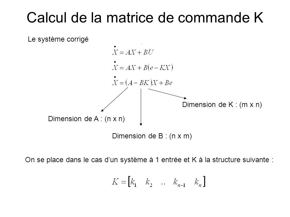 Calcul de la matrice de commande K