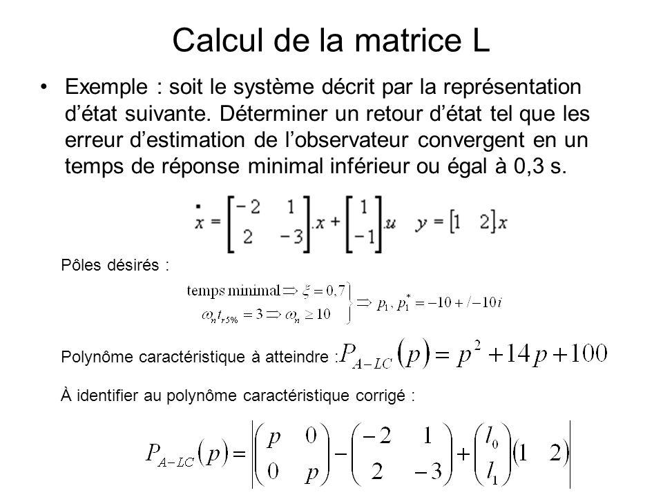 Calcul de la matrice L