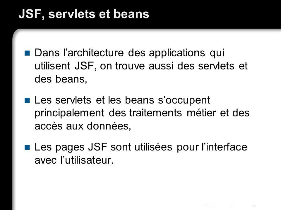 JSF, servlets et beans Dans l'architecture des applications qui utilisent JSF, on trouve aussi des servlets et des beans,
