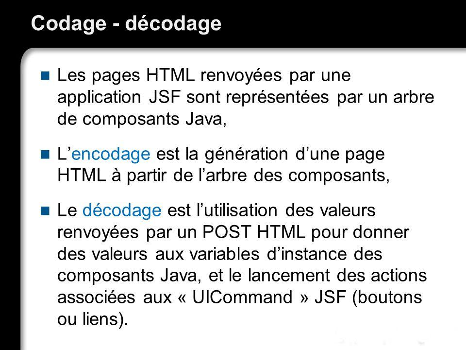 Codage - décodage Les pages HTML renvoyées par une application JSF sont représentées par un arbre de composants Java,