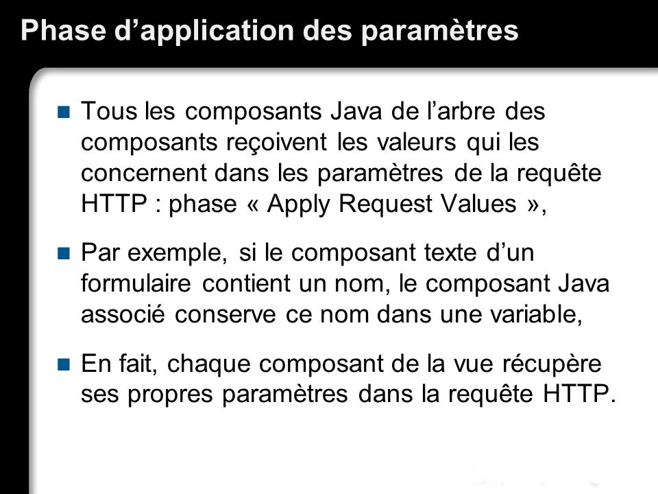 Phase d'application des paramètres
