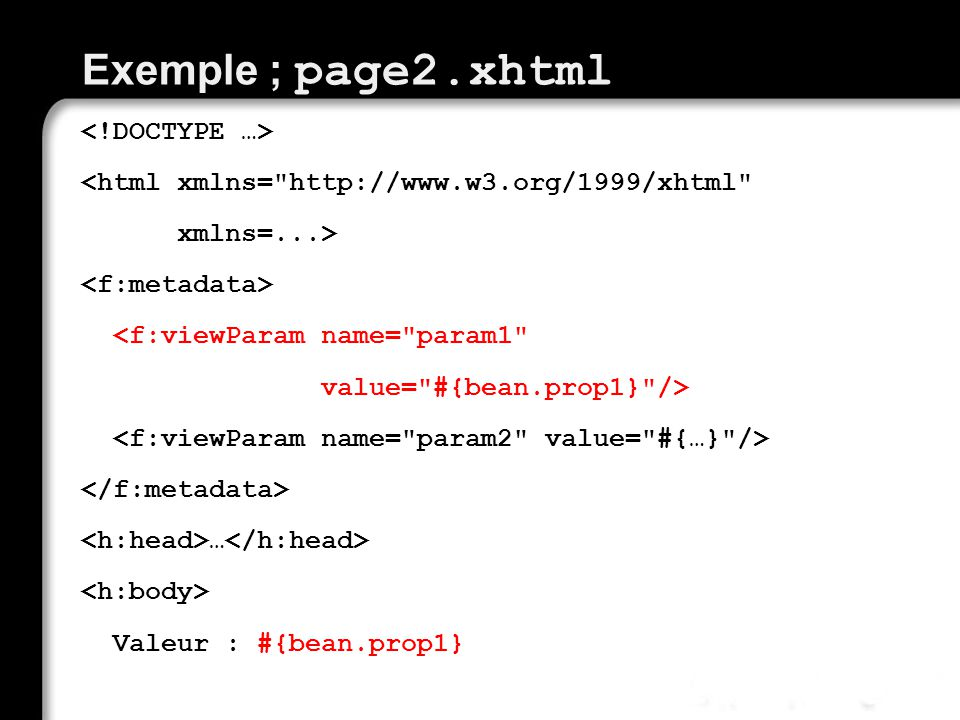 Exemple ; page2.xhtml
