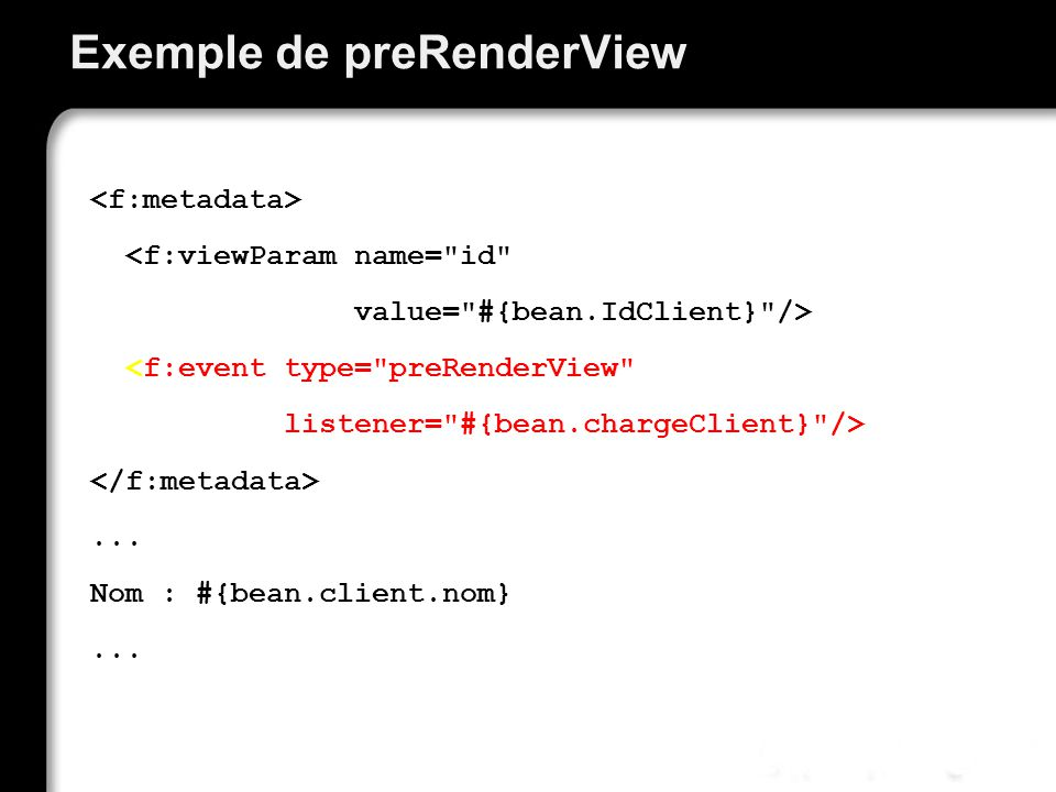 Exemple de preRenderView