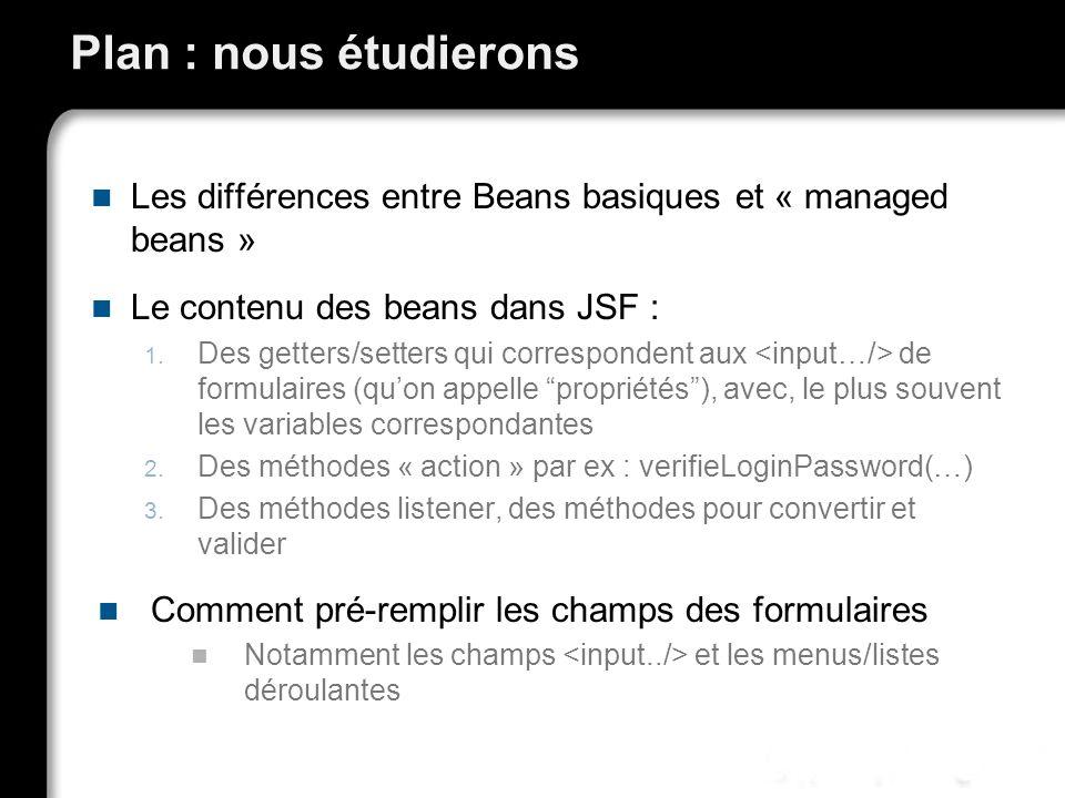 Plan : nous étudierons Les différences entre Beans basiques et « managed beans » Le contenu des beans dans JSF :