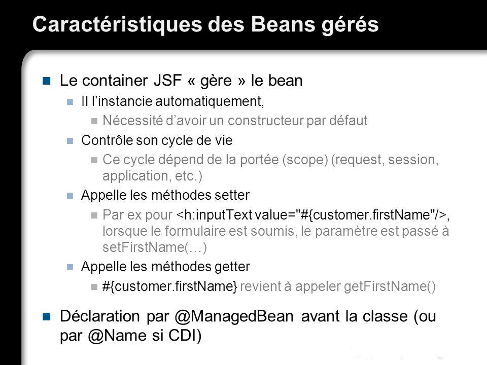Caractéristiques des Beans gérés