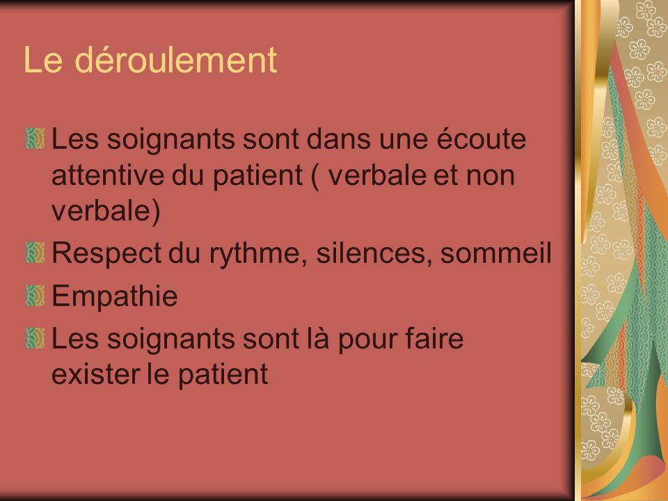 Le déroulement Les soignants sont dans une écoute attentive du patient ( verbale et non verbale) Respect du rythme, silences, sommeil.