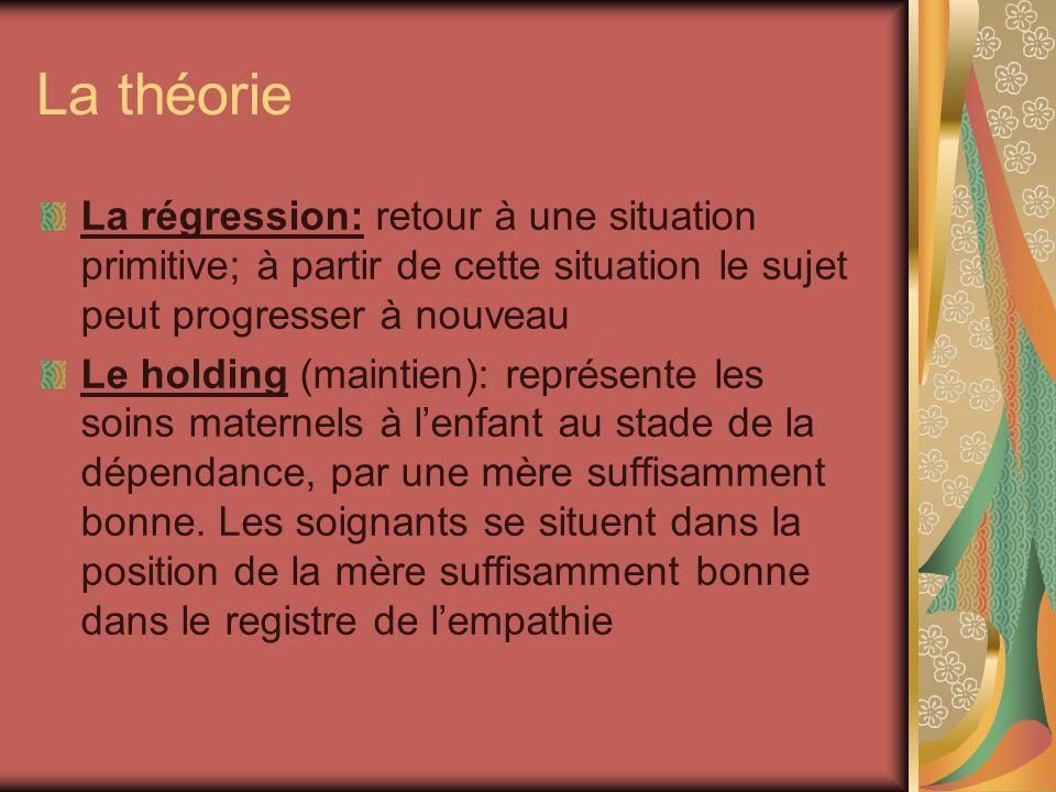 La théorie La régression: retour à une situation primitive; à partir de cette situation le sujet peut progresser à nouveau.