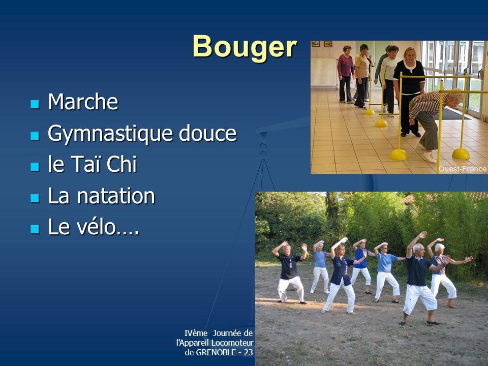 Bouger Marche Gymnastique douce le Taï Chi La natation Le vélo….