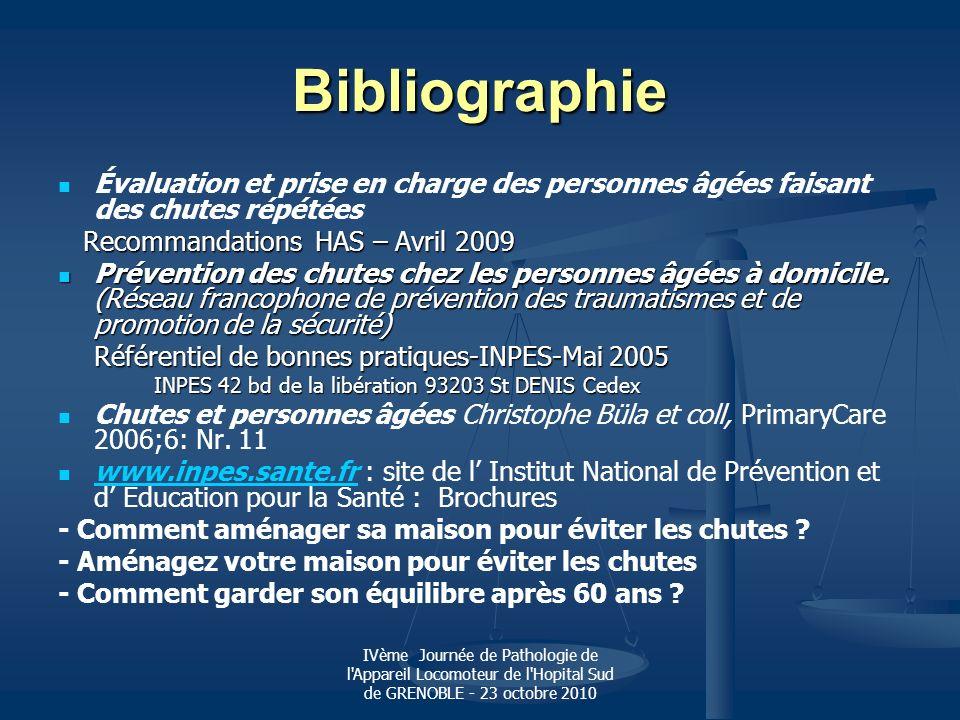Bibliographie Évaluation et prise en charge des personnes âgées faisant des chutes répétées. Recommandations HAS – Avril 2009.