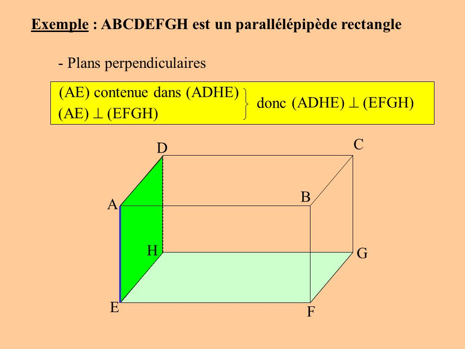 Exemple : ABCDEFGH est un parallélépipède rectangle