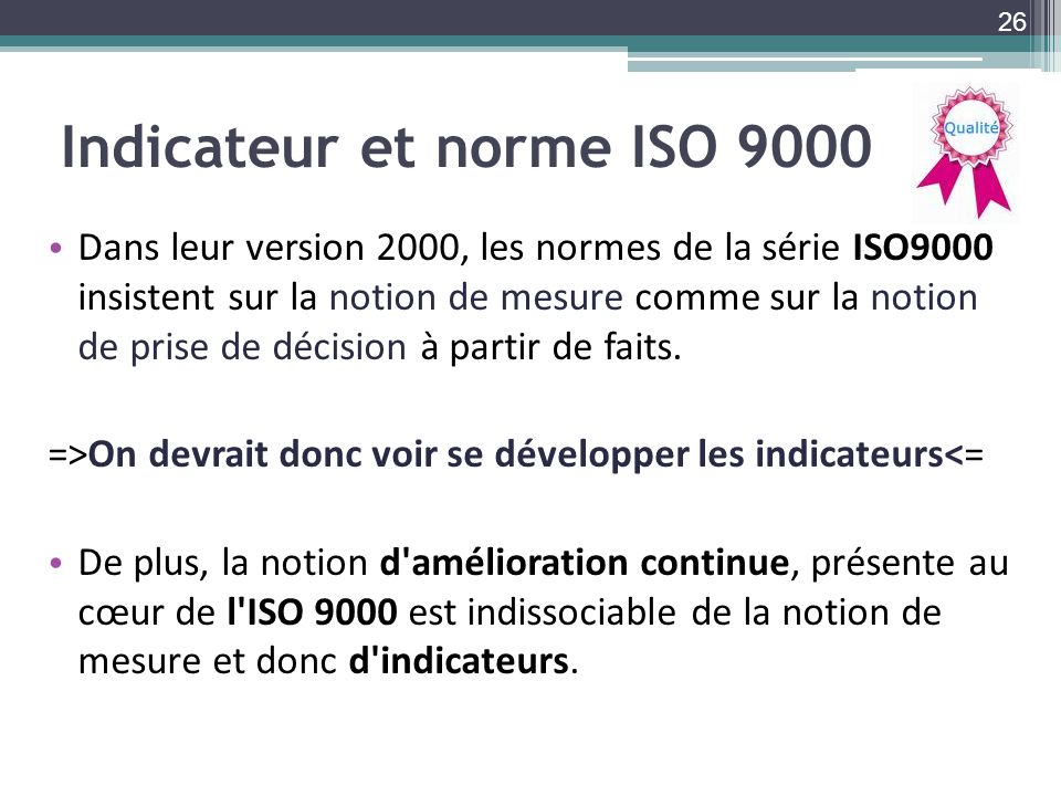 Indicateur et norme ISO 9000