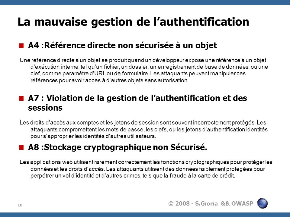 La mauvaise gestion de l'authentification