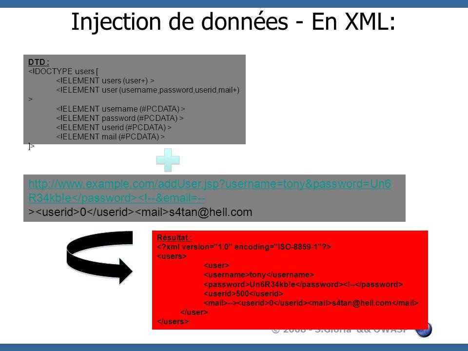 Injection de données - En XML: