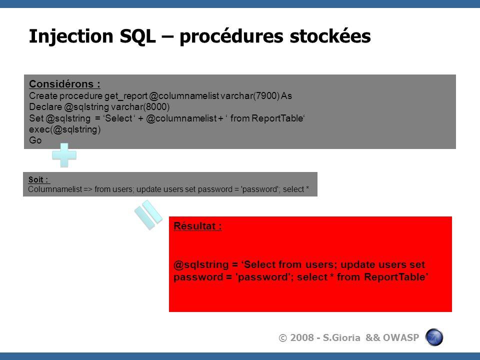 Injection SQL – procédures stockées
