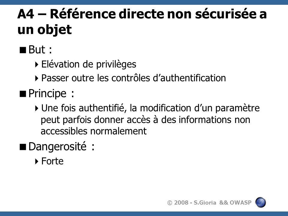 A4 – Référence directe non sécurisée a un objet