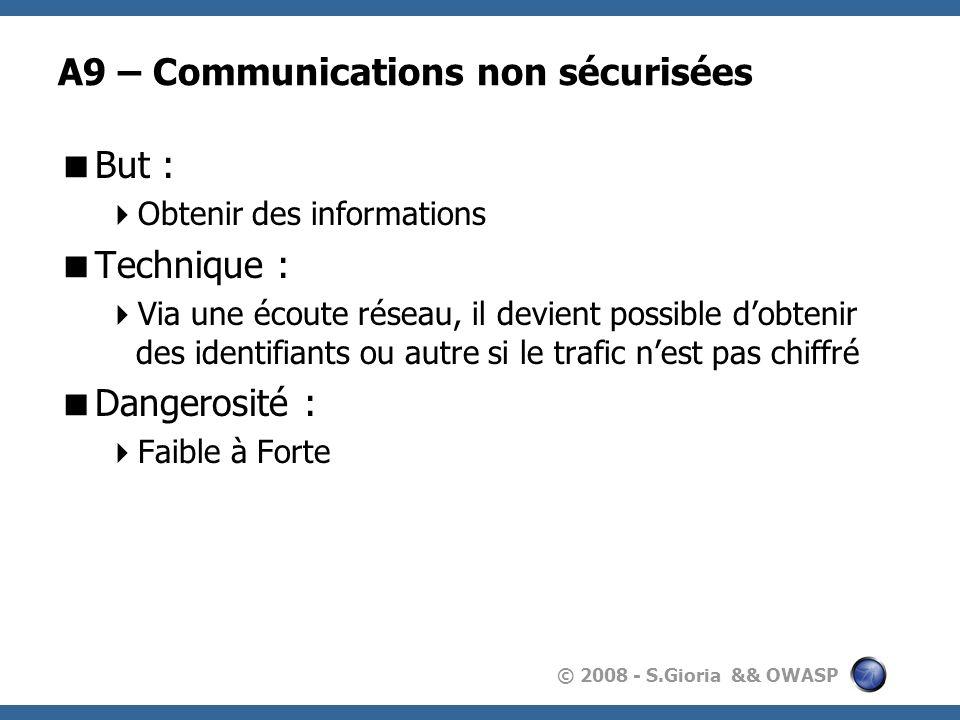 A9 – Communications non sécurisées