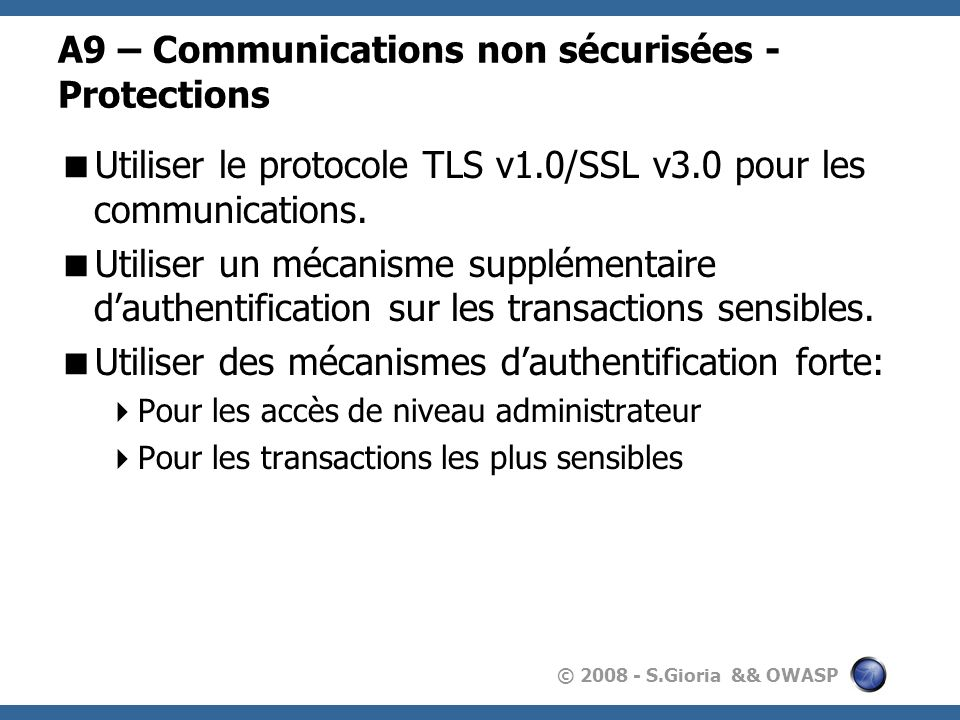 A9 – Communications non sécurisées - Protections