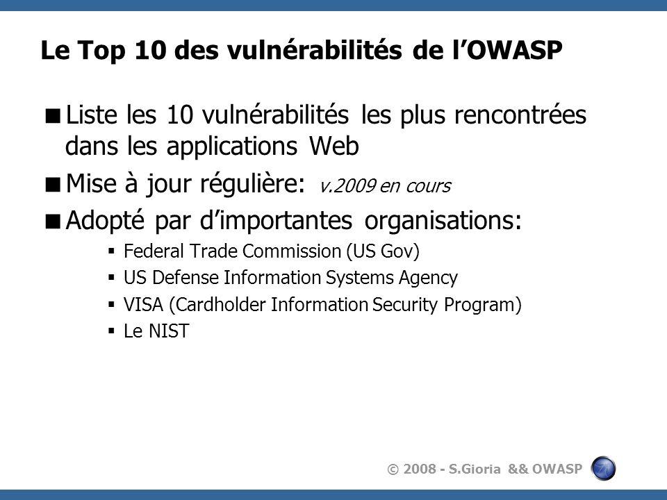 Le Top 10 des vulnérabilités de l'OWASP