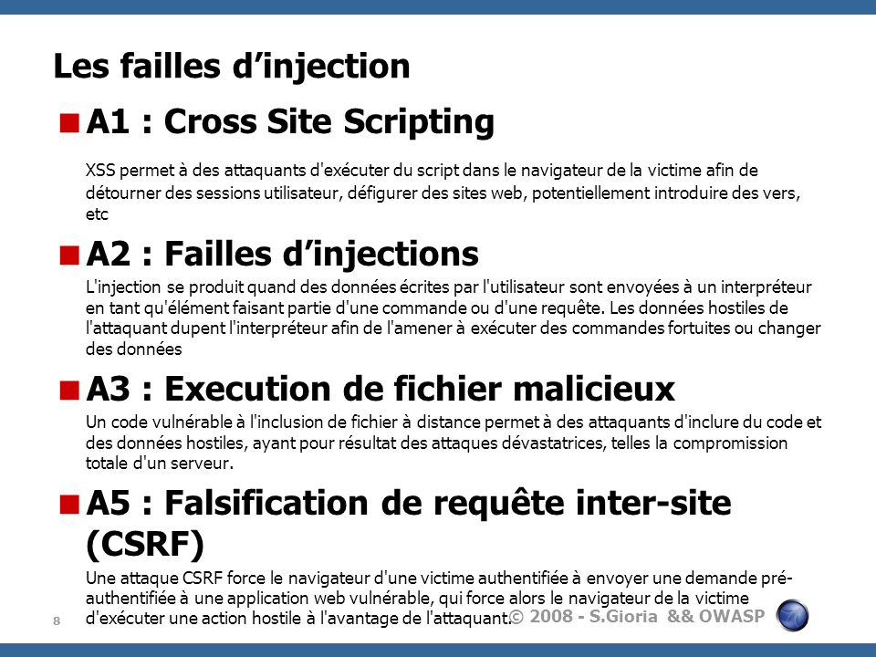 Les failles d'injection