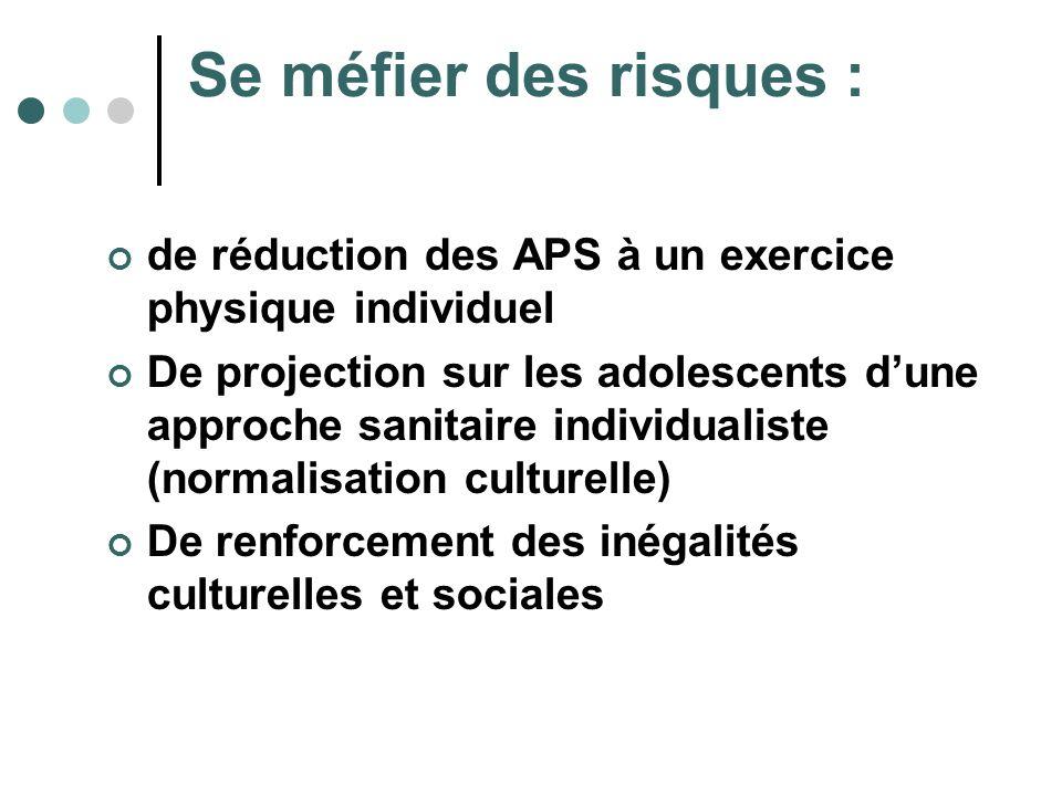 Se méfier des risques : de réduction des APS à un exercice physique individuel.
