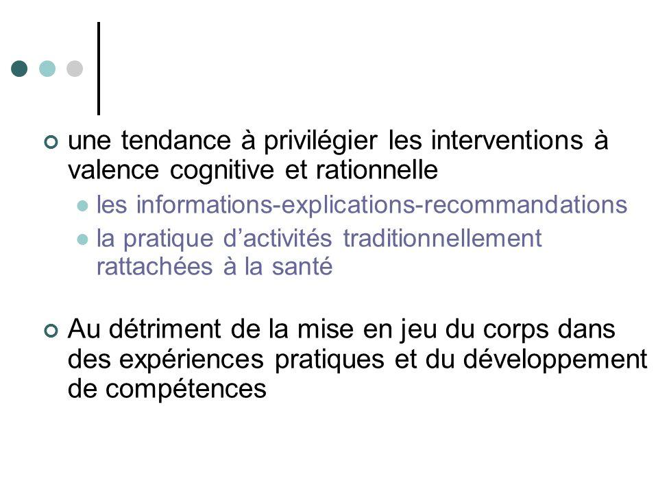 une tendance à privilégier les interventions à valence cognitive et rationnelle