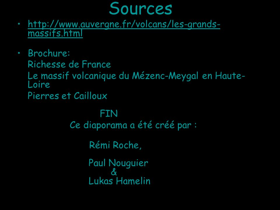 Sources http://www.auvergne.fr/volcans/les-grands-massifs.html