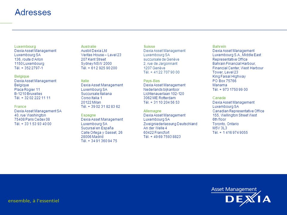 Adresses 2011 SRI Roadshow Luxembourg Dexia Asset Management