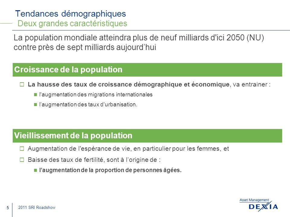 Tendances démographiques Deux grandes caractéristiques