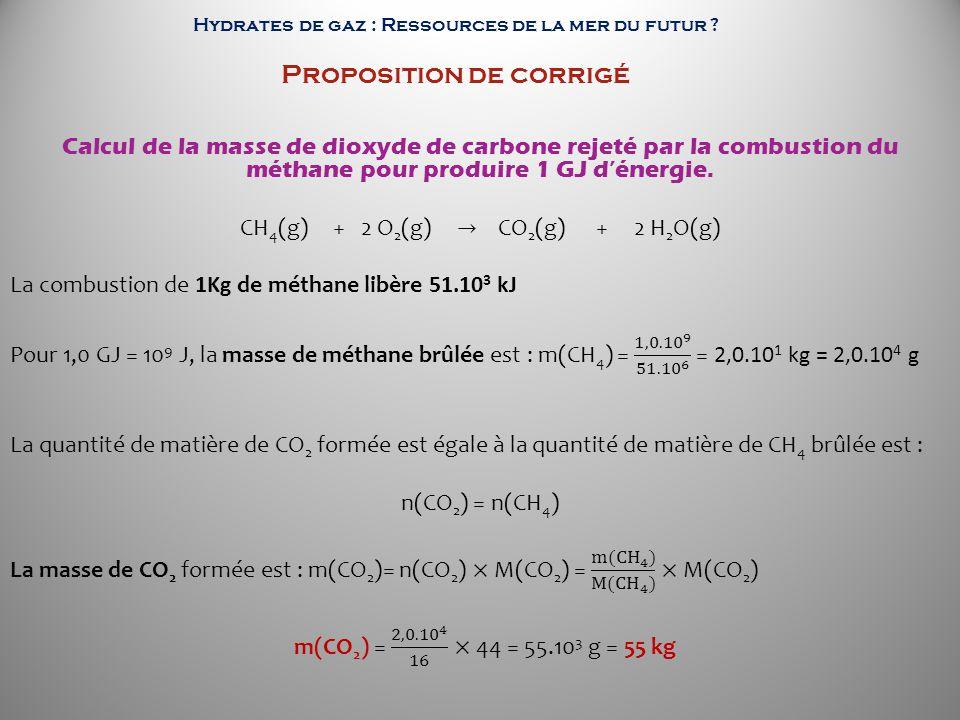 Hydrates de gaz : Ressources de la mer du futur Proposition de corrigé
