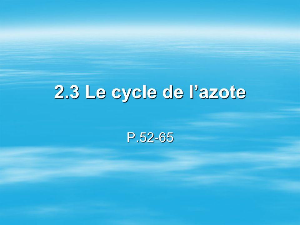 2.3 Le cycle de l'azote P.52-65