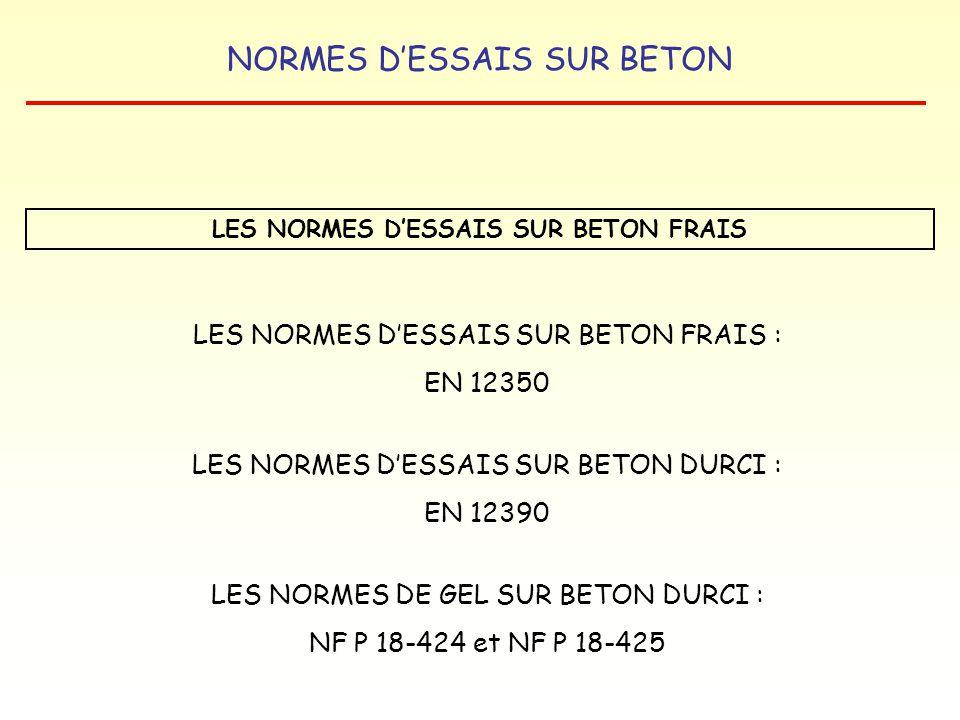 LES NORMES D'ESSAIS SUR BETON FRAIS