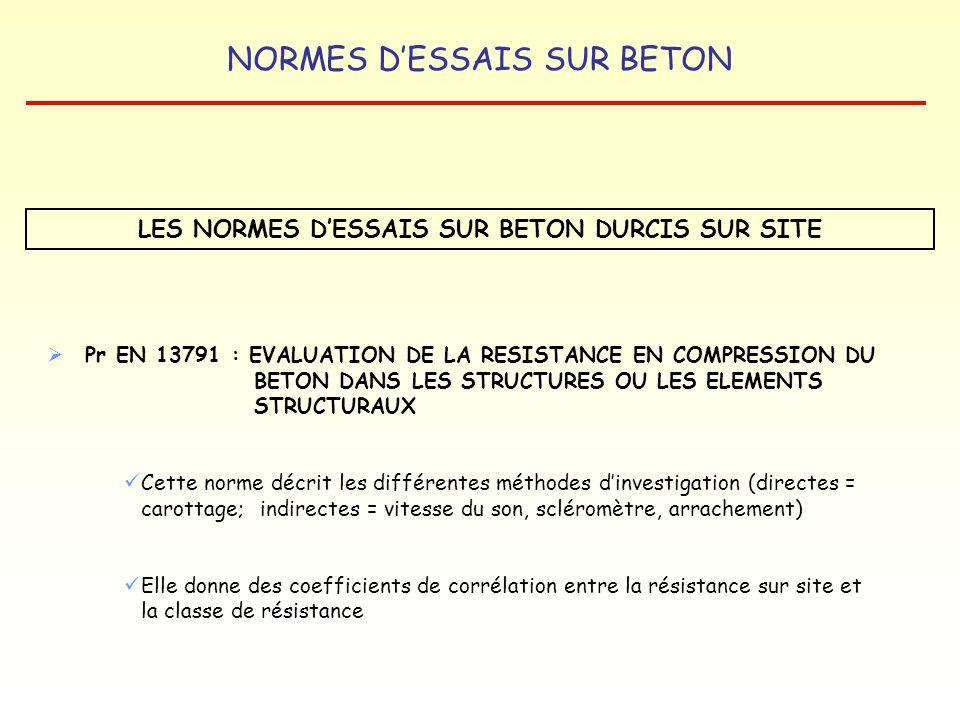 LES NORMES D'ESSAIS SUR BETON DURCIS SUR SITE