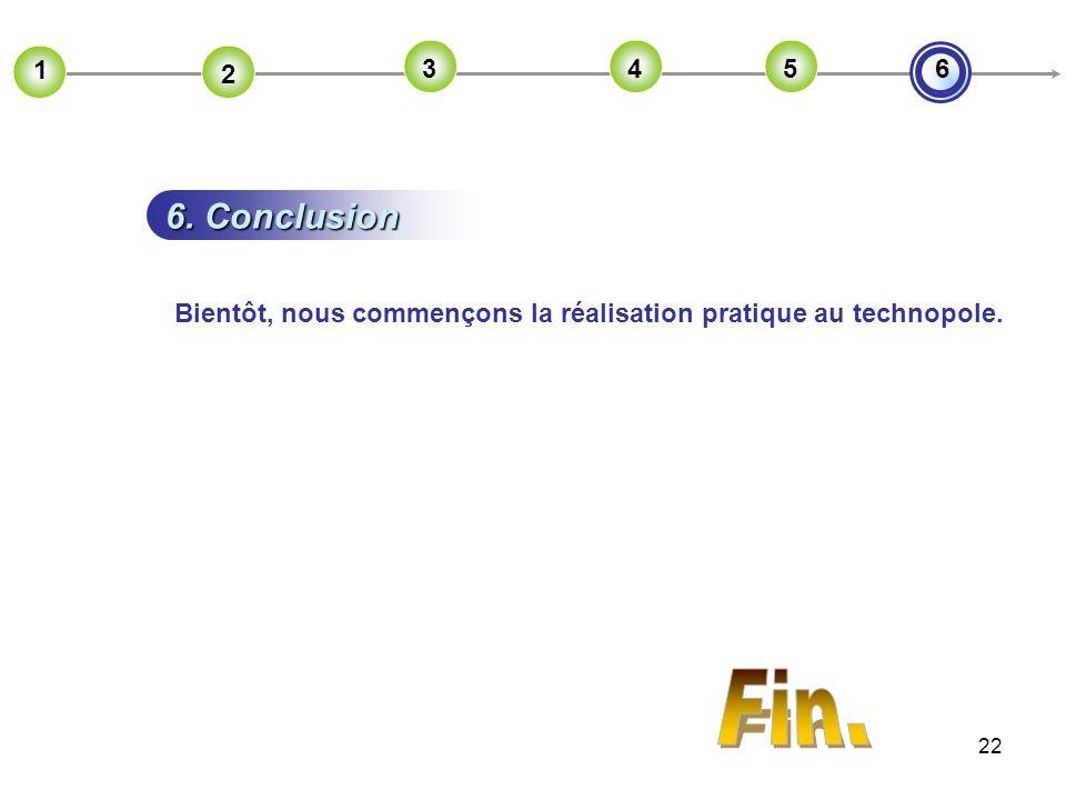 2 1 3 4 5 6 6. Conclusion Bientôt, nous commençons la réalisation pratique au technopole. Fin.