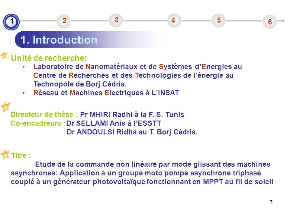 1. Introduction Unité de recherche: 1 2 3 4 5 6