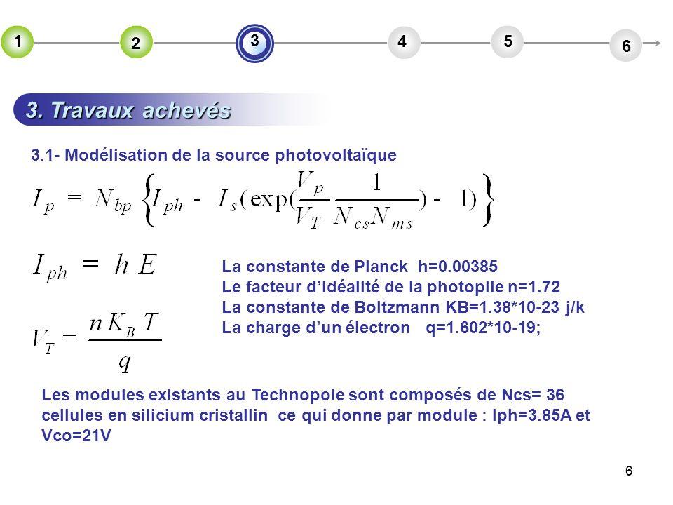 2 4. 5. 6. 3. 1. 3. Travaux achevés. 3.1- Modélisation de la source photovoltaïque. La constante de Planck h=0.00385.