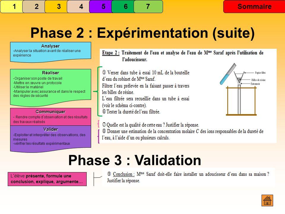 Phase 2 : Expérimentation (suite)