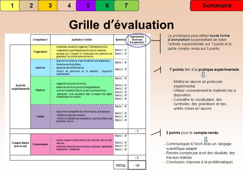 Grille d'évaluation 1 1 2 3 4 5 6 7 Sommaire 2 3 4 5 6 7 Sommaire