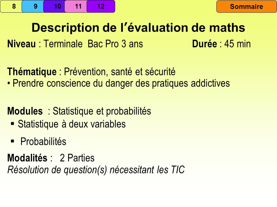 Description de l'évaluation de maths