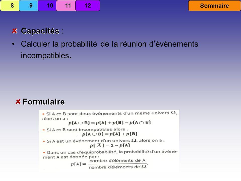 Calculer la probabilité de la réunion d'événements incompatibles.