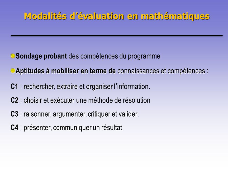 Modalités d'évaluation en mathématiques