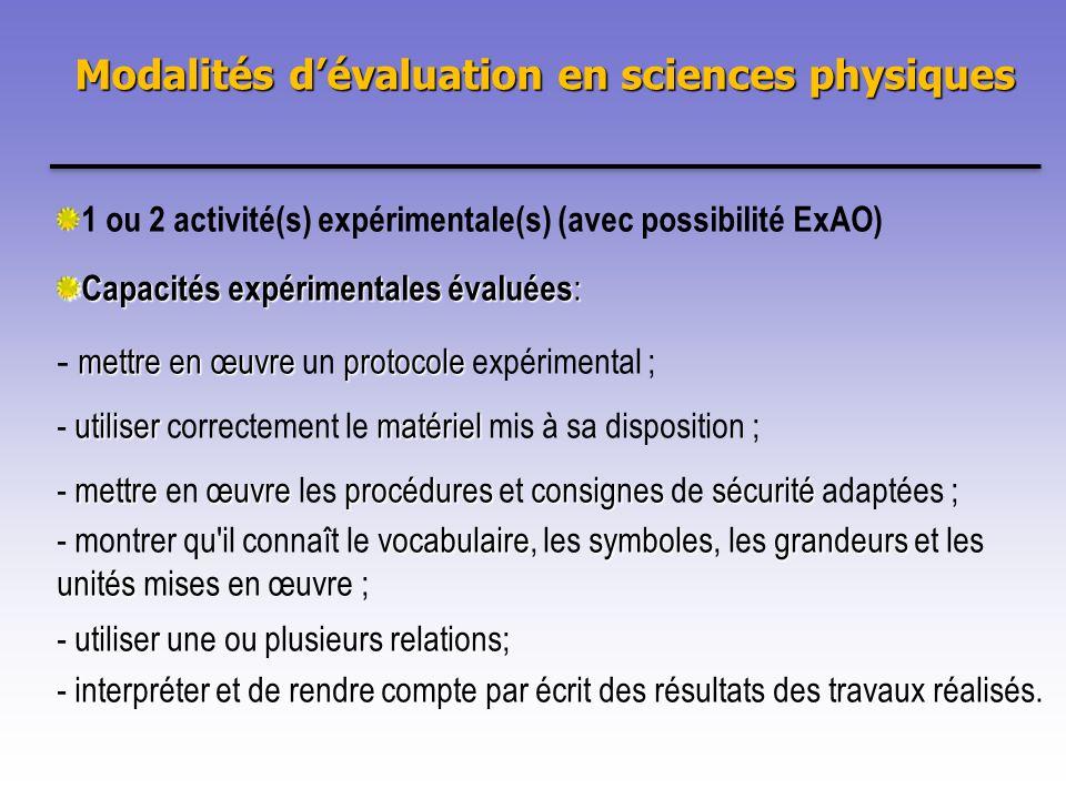 Modalités d'évaluation en sciences physiques