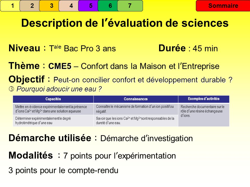 Description de l'évaluation de sciences