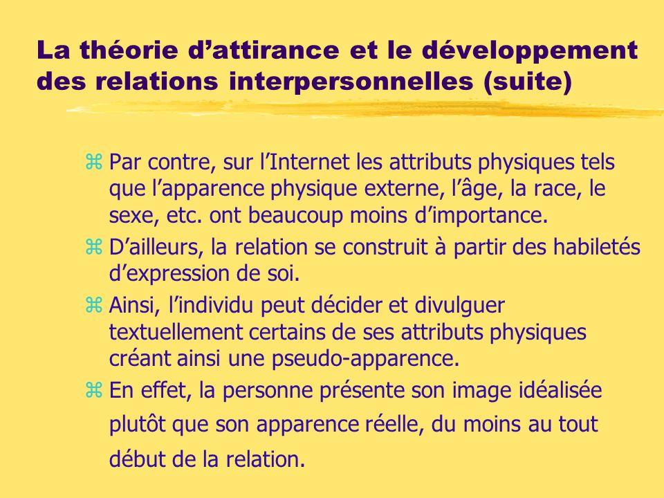 La théorie d'attirance et le développement des relations interpersonnelles (suite)