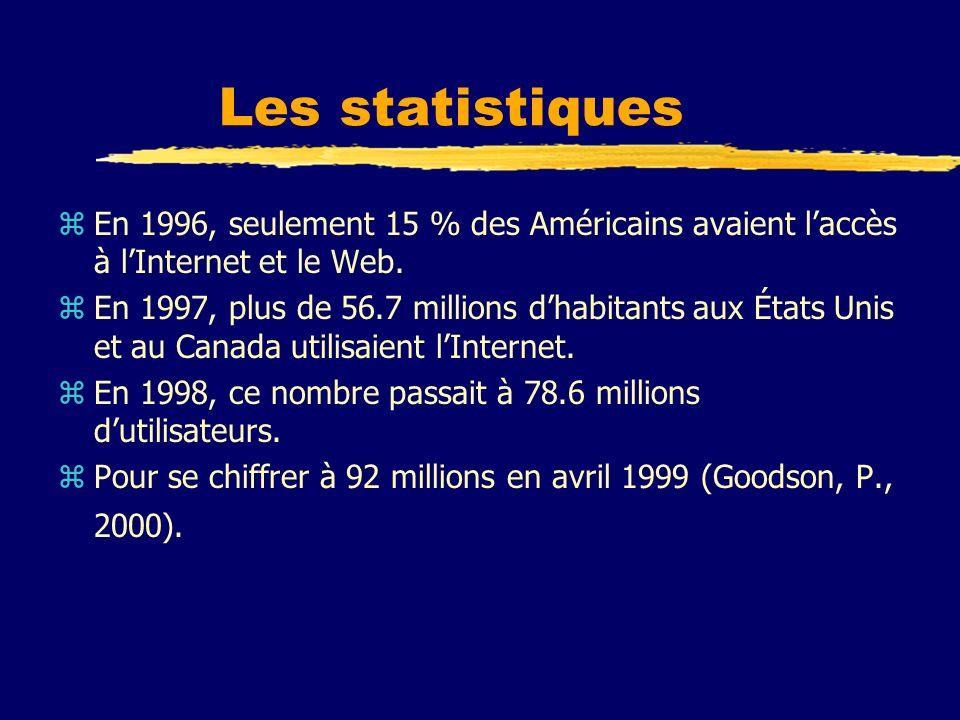 Les statistiques En 1996, seulement 15 % des Américains avaient l'accès à l'Internet et le Web.