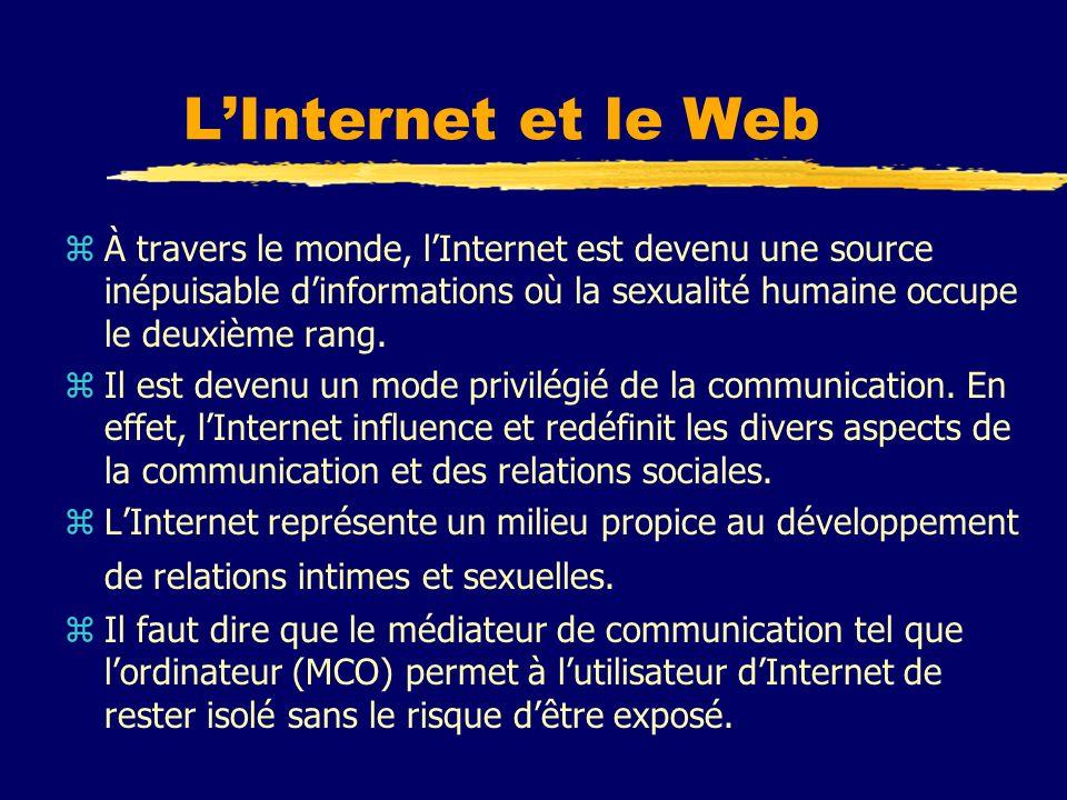 L'Internet et le Web À travers le monde, l'Internet est devenu une source inépuisable d'informations où la sexualité humaine occupe le deuxième rang.