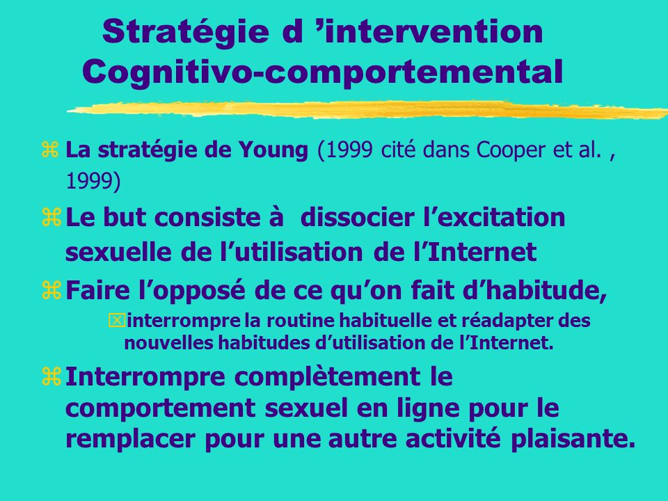 Stratégie d 'intervention Cognitivo-comportemental
