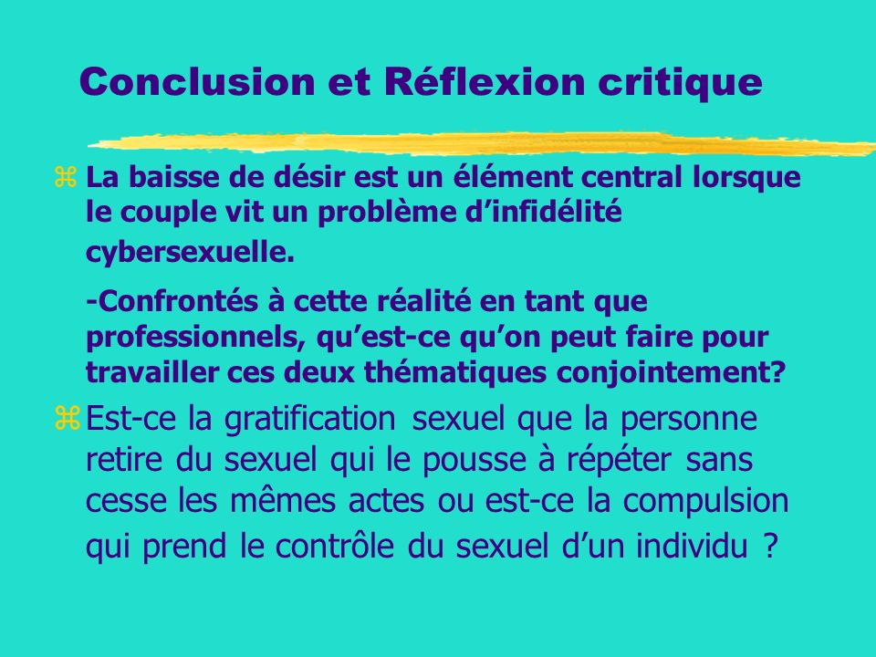 Conclusion et Réflexion critique