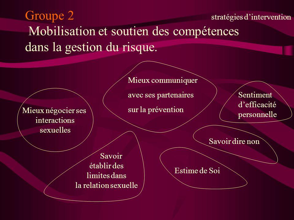 Groupe 2 stratégies d'intervention Mobilisation et soutien des compétences dans la gestion du risque.