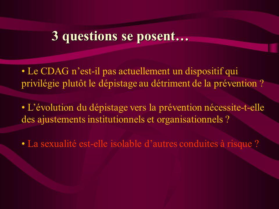 3 questions se posent… Le CDAG n'est-il pas actuellement un dispositif qui privilégie plutôt le dépistage au détriment de la prévention