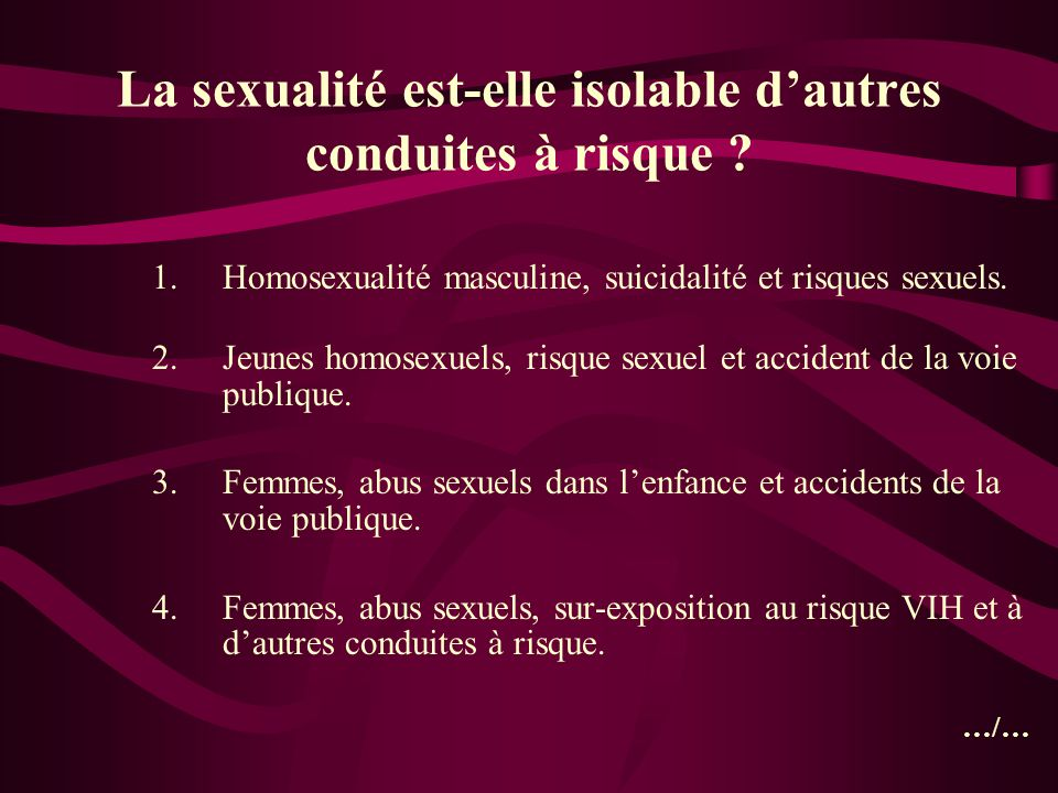 La sexualité est-elle isolable d'autres conduites à risque